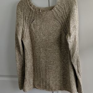 Chelsea & Violet gold elbow patch knit sweater - L